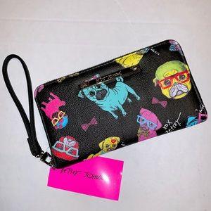 Betsey Johnson zip around wallet wristlet pug dog